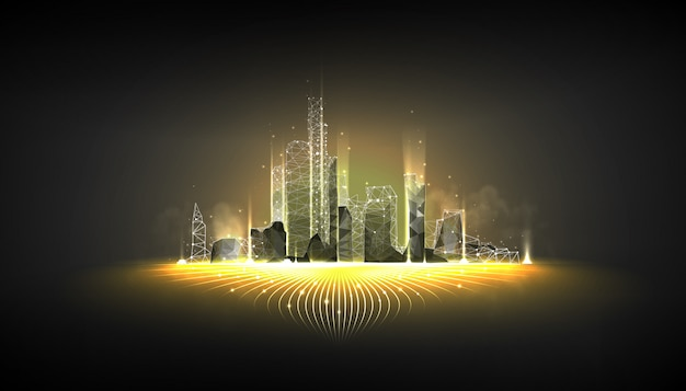 Smart city wireframe on dark background Premium Vector