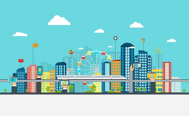 Smart city with business signs, Premium Vector