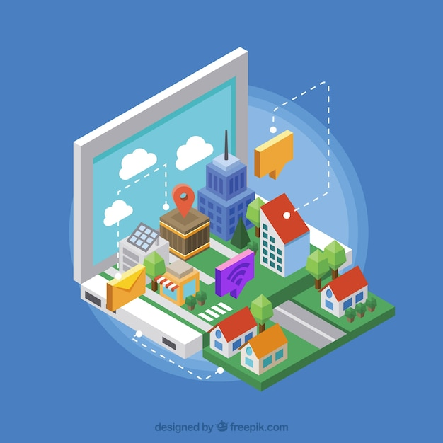 Smart city with nice houses in isometric style Free Vector