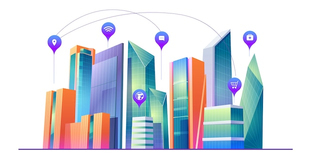 Smart city with wireless communication technology Free Vector