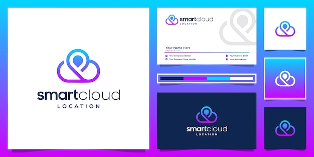 Smart cloud and location logo design and business card. symbol for technology, server, internet. Premium Vector