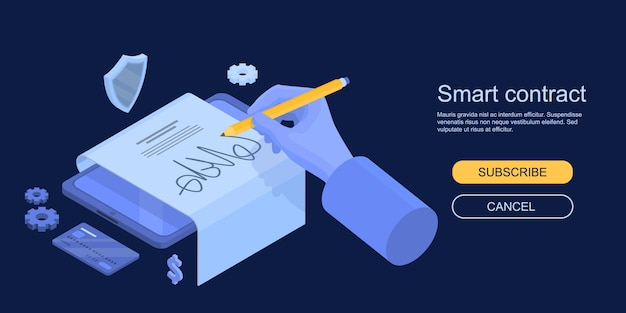 Smart contract concept banner, isometric style Premium Vector