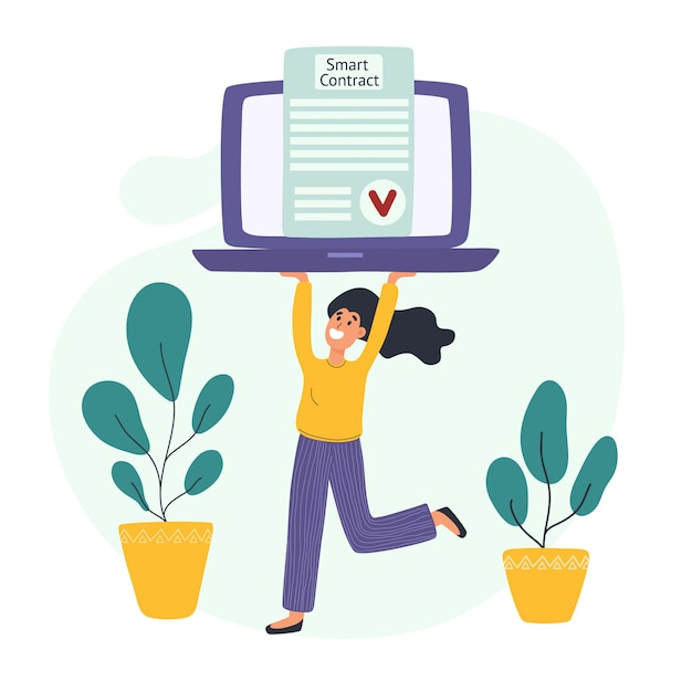 Smart contract concept with a young woman carrying a laptop with a verified electronic document Premium Vector