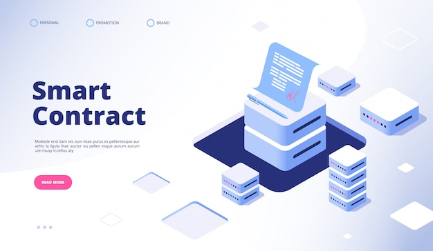 Smart contract . digital signature document smart contracts finance data cryptography contractor agreement  landing page Premium Vector