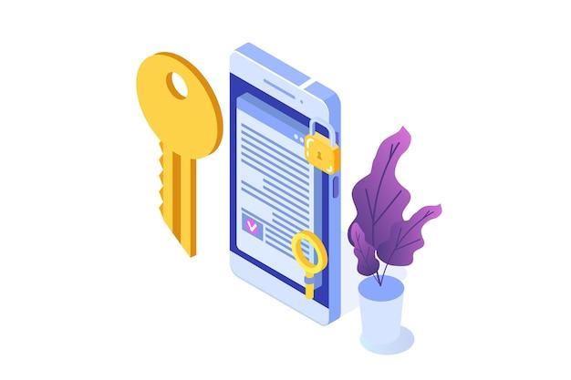 Умный контракт, изометрическая концепция цифровой подписи. технология блокчейн. Premium векторы