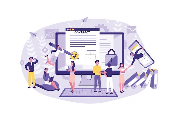 Бизнес-концепция smart contract, сделки, банковское дело, криптография, торговля, сотрудничество, транзакции. совместная работа офисных клерков контракты, соглашения, обмены. Premium векторы