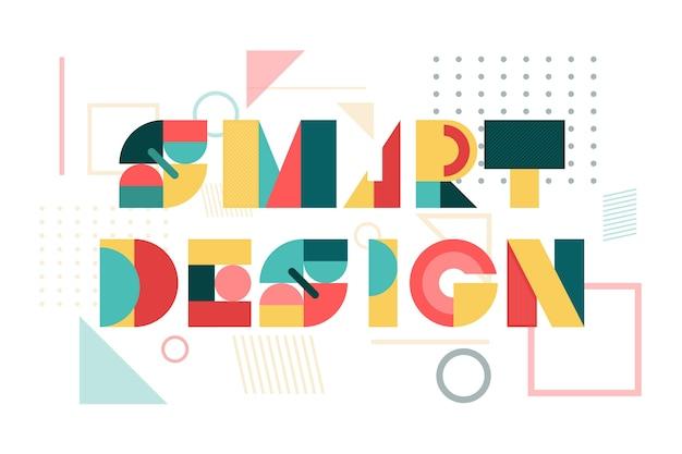幾何学的なレタリングのスマートなデザイン 無料ベクター