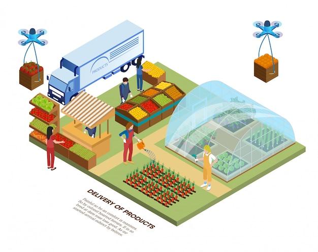 스마트 에코 농장, 온실 및 제품 배달. 프리미엄 벡터