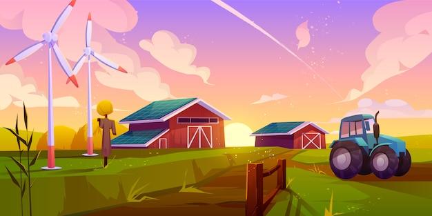 スマートで生態学的な農業漫画イラスト 無料ベクター