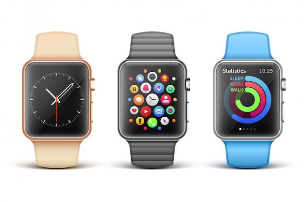 Набор умных электронных яблочных часов Premium векторы