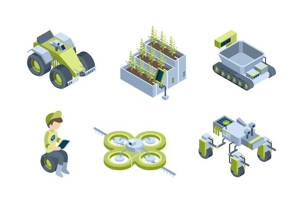 Smart farm. agricultural automatic processes industrial robots smart tractors harvesters eco greenhouse vector isometric set. smart farm robot, automatic system for garden illustration Premium Vector
