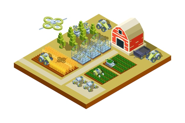 Smart farm buildings. big household agriculture machinery feed tractors harvesters working field automatical control isometric. Premium Vector