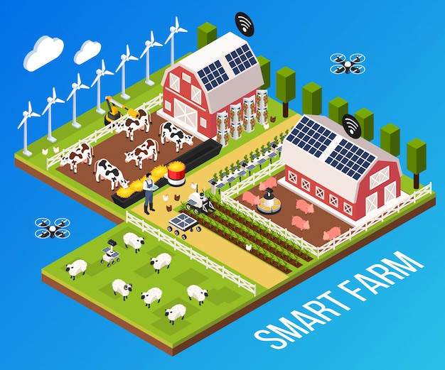 Smart farm concept with technology and cattle, isometric vector illustration Free Vector
