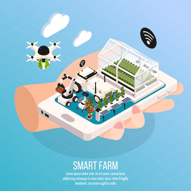 Smart farm on hand composition set with technology isometric  vector illustration Free Vector