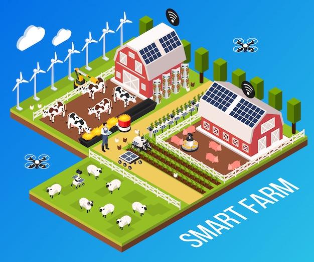 Концепция smart farm с технологией и крупного рогатого скота, изометрические векторная иллюстрация Бесплатные векторы