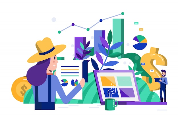 Smart farmers analytic data and financial on laptop. Premium Vector