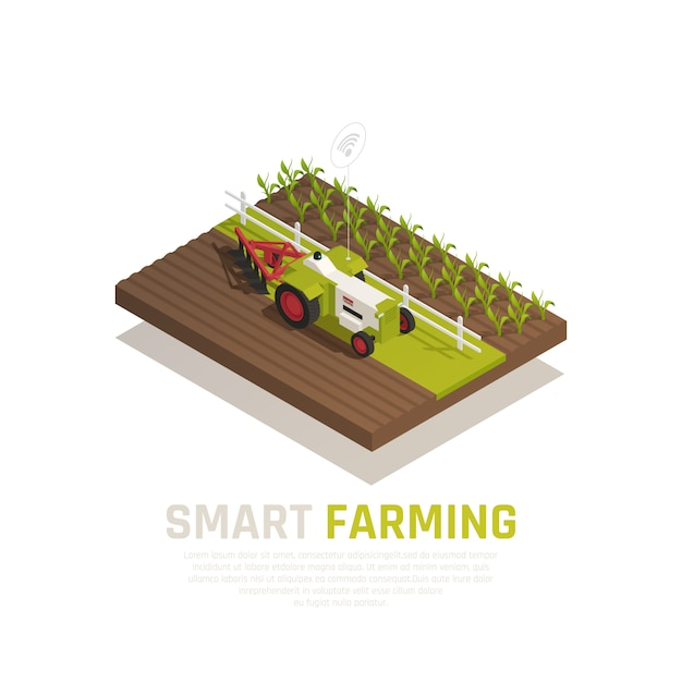Smart farming composition with agriculture and harvest symbols isometric  illustration Free Vector