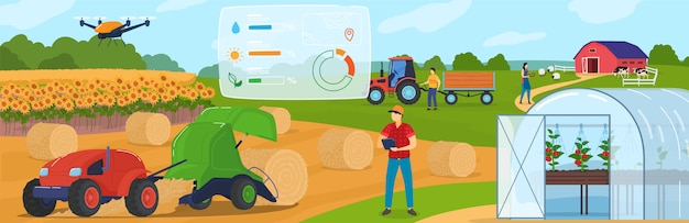 Smart farming, farm agriculture technology and control systems, internet of things cartoon  illustration. Premium Vector
