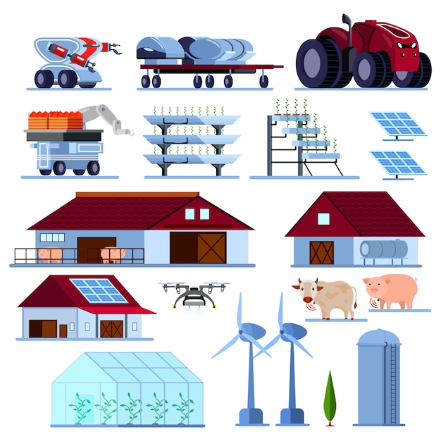 Smart farming orthogonal flat set Free Vector