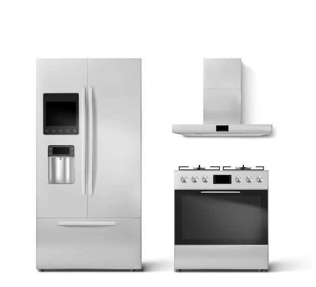 スマート冷蔵庫、ガスオーブン、フードキッチン家電 無料ベクター