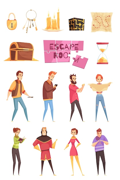 Smart game decorative icons and characters set Free Vector