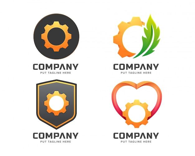 Smart gear logo template for company Premium Vector
