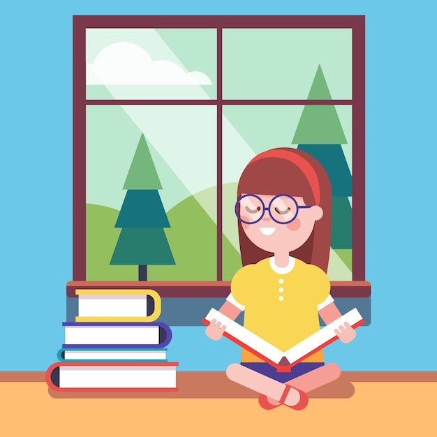 Smart girl in glasses reading a big book Free Vector