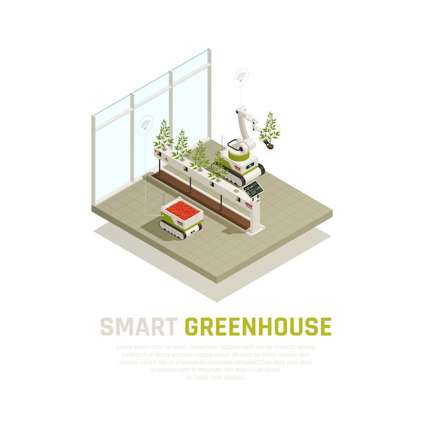 Smart greenhouse concept with agriculture and growing automation isometric  illustration Free Vector
