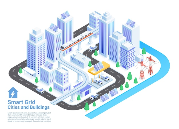 スマートグリッドの都市と建物のアイソメ図 Premiumベクター