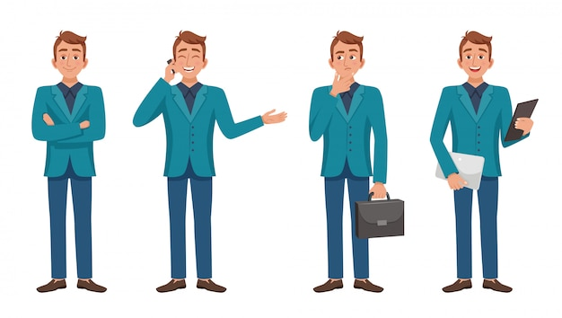 Smart guy character set Free Vector