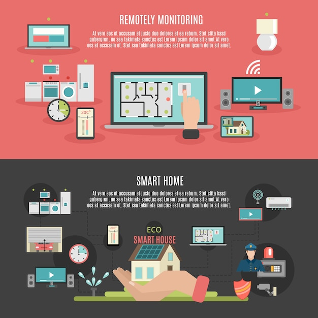 Smart home 2 flat banners poster Free Vector