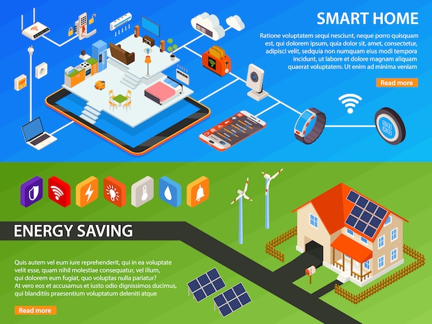 Smart home 2 isometric banners design Free Vector