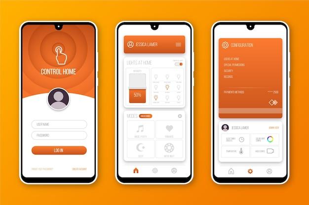 スマートホームアプリのコンセプト 無料ベクター