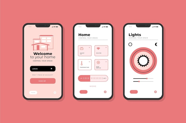 Smart home app interface screens Free Vector