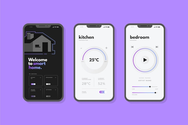 スマートホームアプリのインターフェース 無料ベクター