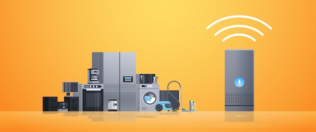 Smart home assistant intelligence speaker controlling different home appliances devices network concept flat Premium Vector