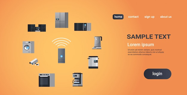 Smart home assistant intelligence speaker controlling home appliances devices network concept flat copy space Premium Vector