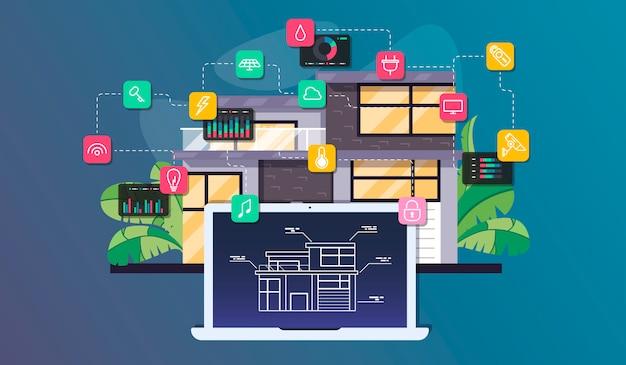 Умная домашняя автоматизация и интернет вещей Premium векторы