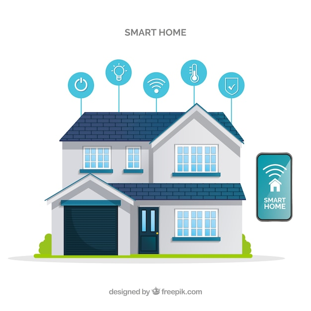 Smart home background in flat style Free Vector