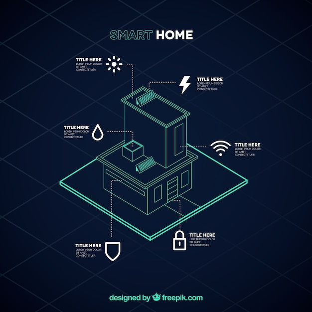 Smart home background in isometric style Free Vector