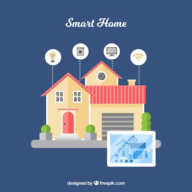 Smart home background with device Free Vector