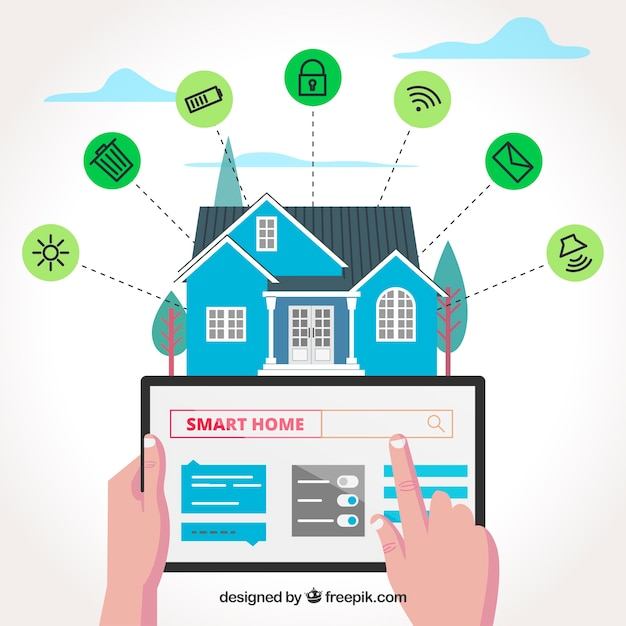Smart home background with functions Free Vector