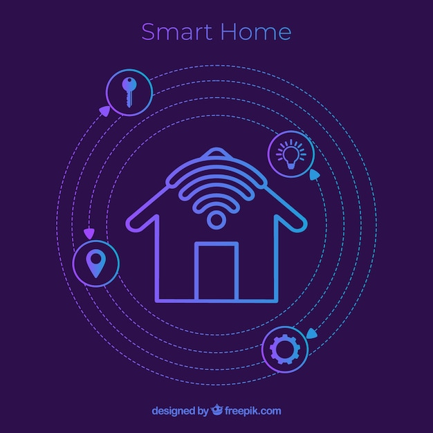 Smart home background with icons Free Vector