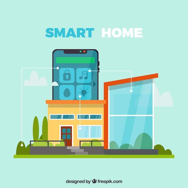 Smart home background with smarthphone control Free Vector