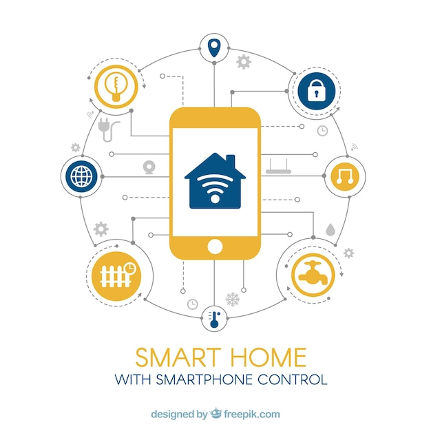 Smart home background with smartphone control Free Vector