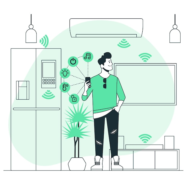 Smart home concept illustration Free Vector