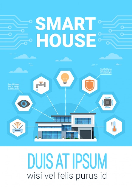 Smart home concept infographics modern house technology system with centralized control icons banner Premium Vector