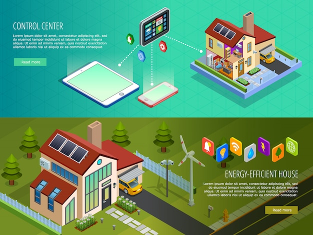 Smart home control isometric banners Free Vector