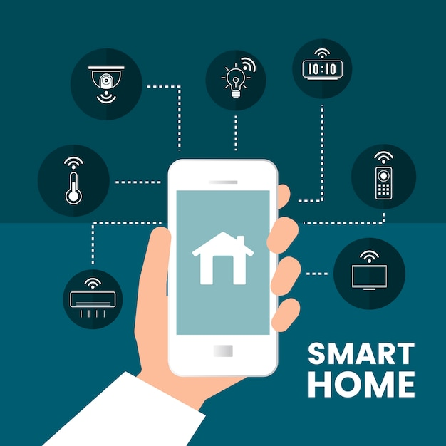 Smart home controlled by phone infographic vector Free Vector