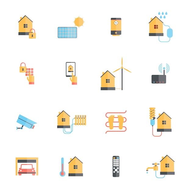 Умный дом цифровой системы мониторинга значок плоский набор Premium векторы